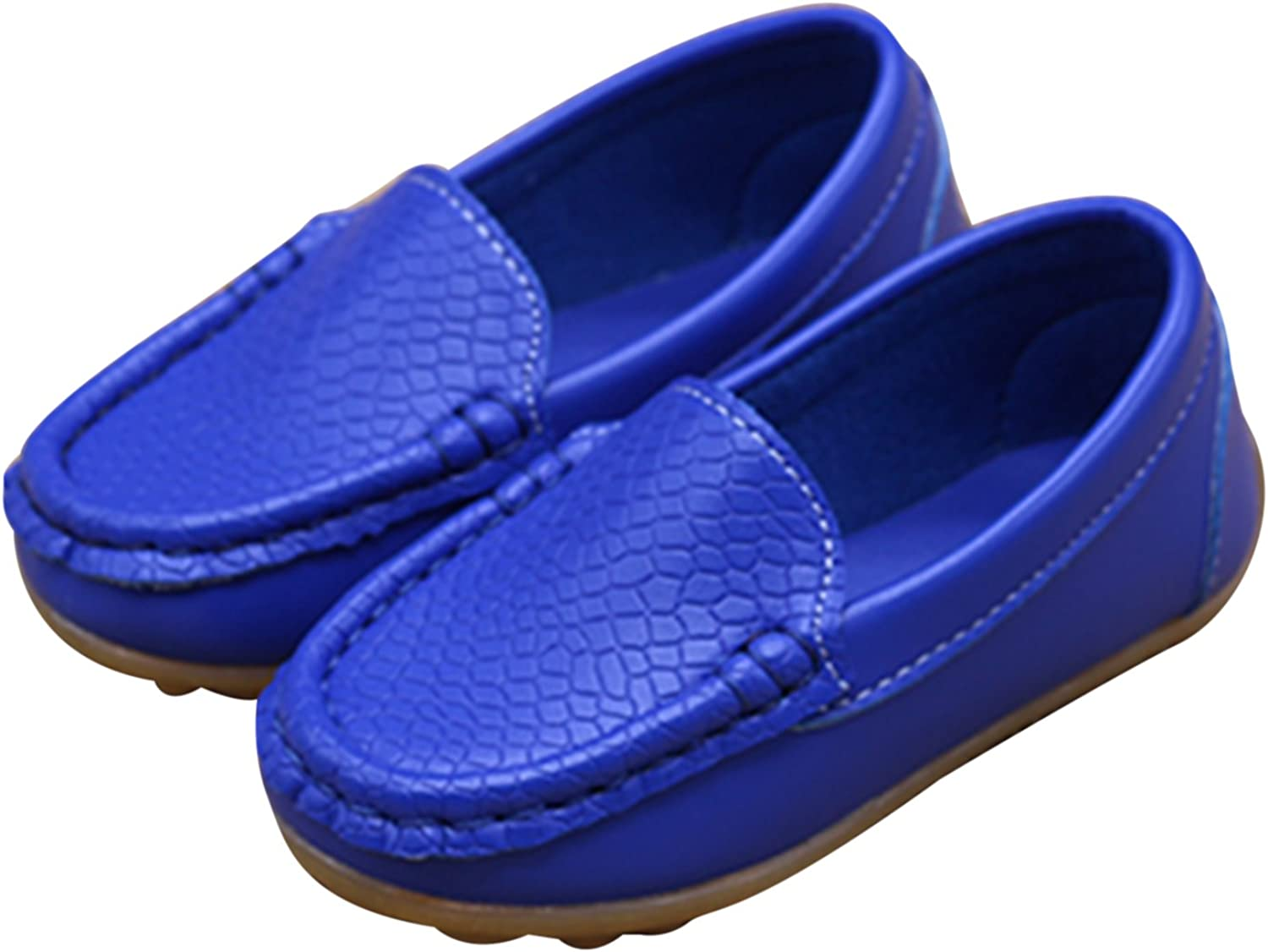 Soft Leather Comfort Loafers Shoes Durable For Toddlers,Blue,Toddler 9 M Little Kids Frosted Leather Sneakers,Slip-on Boat-Dress Baby Shoes