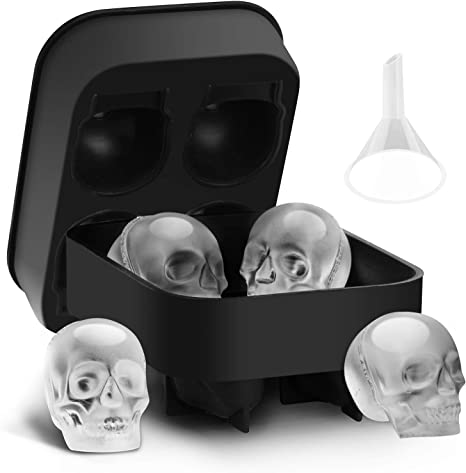 Clubbing 3D Skull Shape Kitchen Cube Mold Maker Trays Cocktails Whiskey Ice Cube
