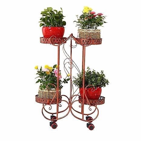 Movible 4 Macetas Macetas para Plantas Estante para Flores Estante Estante de Metal con Ruedas Jardín