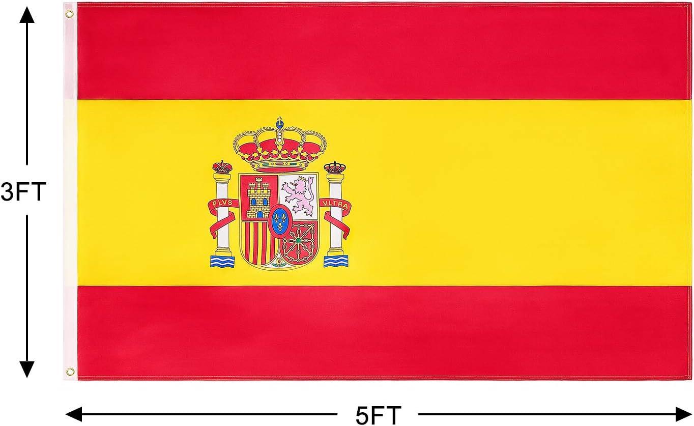FLAGBURG Bandera de España de 3x5 pies 2 Packs, Bandera Española Duradera Impresa con Colores Vivos, Doble Costura para Exhibición en Exteriores para Todo Clima: Amazon.es: Jardín