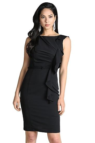 Nikibiki Belted One Side Ruffle Dress At Amazon Womens Clothing Store