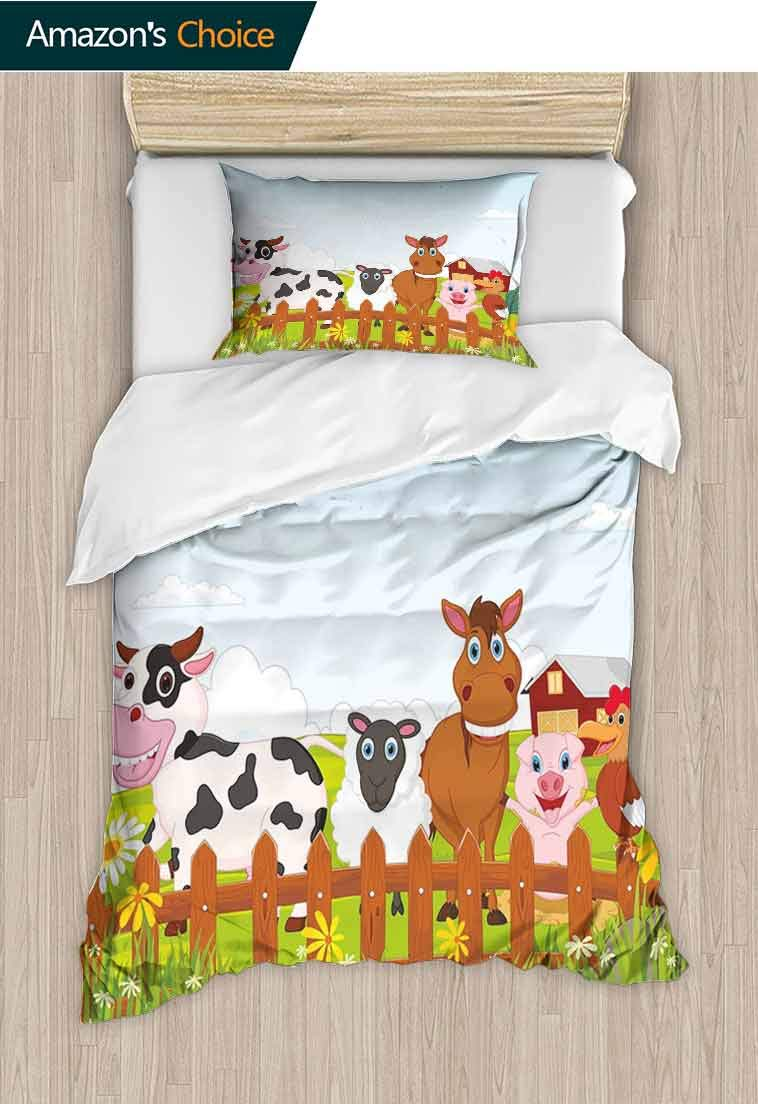 Animal Printed Duvet Cover and Pillowcase Set,Cute Farm Creatures with Cow Horse Goat Pig and Ch, 100% Microfiber Bedding Sets Queen with Zipper Closure, Lightweight and Ultra Soft, 71 W x 79 L Inches