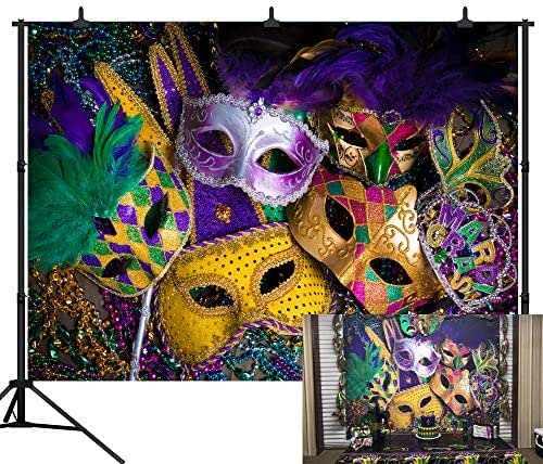 DePhoto 10X8FT Carnival Mardi Gras Colorful Mask Poster Masquerade Seamless Vinyl Photography Backdrop Photo Background Studio Prop PGT140C