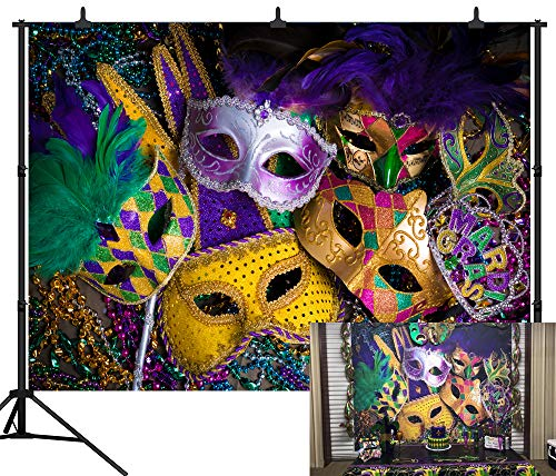 DePhoto 9X6FT(270X180CM) Carnival Mardi Gras Colorful Mask Poster Masquerade Seamless Vinyl Photography Backdrop Photo Background Studio Prop PGT140B -