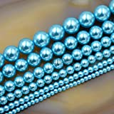AD Beads Top Quality Czech Glass Pearl Round Beads 16'' 3mm 4mm 6mm 8mm 10mm 12mm (12mm, Aquamarine Blue)