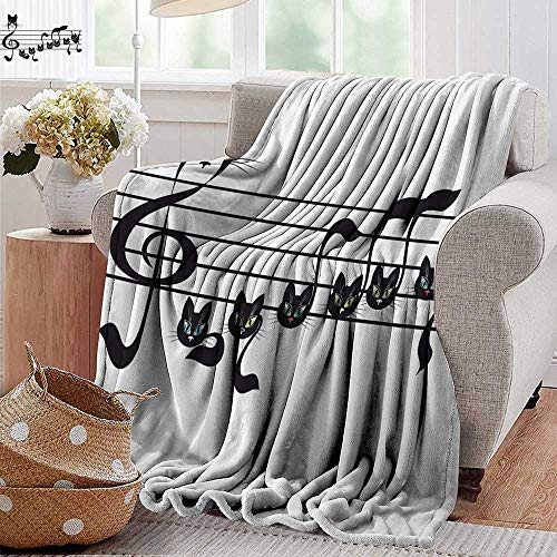PearlRolan Soft Cozy Throw Blanket,Music Decor Collection,Notes Kittens Cat Artwork Notation Tune Children Halloween Style Pattern,Black Green Blue,for Bed & Couch Sofa Easy Care 50