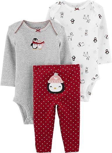 3pcs Set Christmas Kids Clothes Cotton Letter Print Stripe Romper+Pants+Cap L/&6