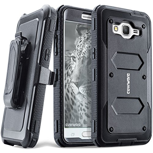 COVRWARE Samsung Galaxy Grand Prime/Go Prime Case - [Aegis Series] Heavy Duty Dual Layer Hybrid Full-Body Armor Belt-Clip Holster Case [Kickstand] w/Front Cover Built-in Screen Protector - Black
