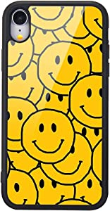 MAYCARI for iPhone X/iPhone Xs Case Yellow Smile, Cute Pattern Design Hard Back Case with Soft TPU Bumper for Girls Children Women Protective Phone Case for iPhone X/iPhone Xs