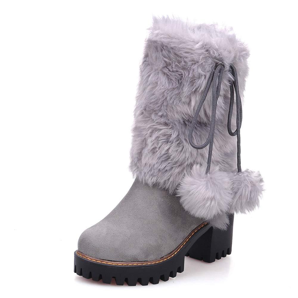 QINGMM Frauen Plüsch Schnee Stiefel 2018 Herbst Winter Plattform High Heel Wildleder Baumwolle Stiefel Große Größe Grau 38 EU
