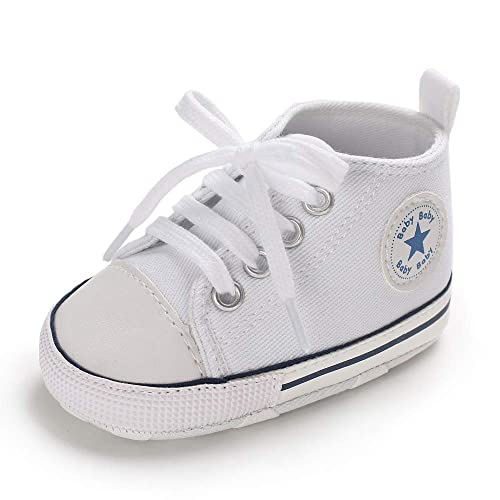finest selection 87cdb d334b Mybbay Infant Baby Boy Girl Canvas Soft Sole Anti-Slip High Top Prewalker  First Walker
