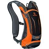 VEQSKING Fahrradrucksack mit Trinksystem 8L Licht Nylon Fahrrad Rücksack mit Handytasche und Wasserflasche Tasche (Orange)