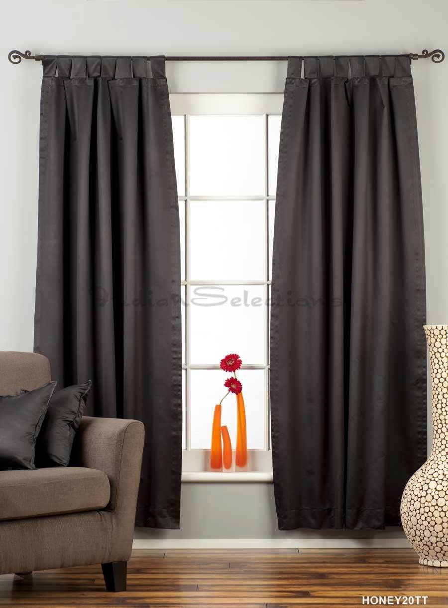 Indian Selections Black Tab Top 90 Blackout Curtain Drape Panel – 50X84 – Piece