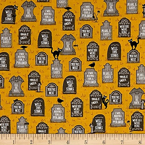 Ink & Arrow Fabrics Ink & Arrow Boos & Ghouls Gravestones Gold Fabric by The Yard