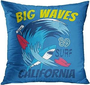 Qryipd Throw Pillow Cover California Shark Attack Summer Design Surfboard Comfortable Living Room Print Sofa Bedroom Polyester Hidden Zipper Pillowcase Cushion Cover 20x20 Inch