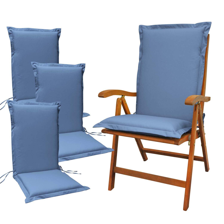 Indoba 4 x Sitzauflage Hochlehner Premium Polsterauflage Blau