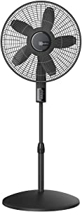 Lasko S18610 Elite Collection Quiet Blade Pedestal Fan with Remote Control and Adjustable Thermostat, Black,