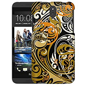 HTC Desire 610 Case, Slim Snap On Cover Abstract Swirled Sades of Orange on Black Case