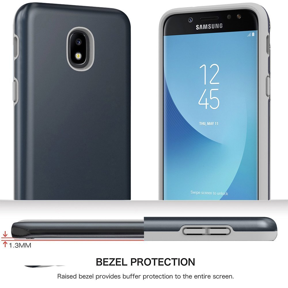 Samsung Galaxy J3 2018 Case, J3V 3rd Gen, J3 Star, Express Prime 3,J3 Achieve, Amp Prime 3 Case, Androgate Hybrid Matte Protective Cover Case with Full Coverage TPU Screen Protector,Dark Blue