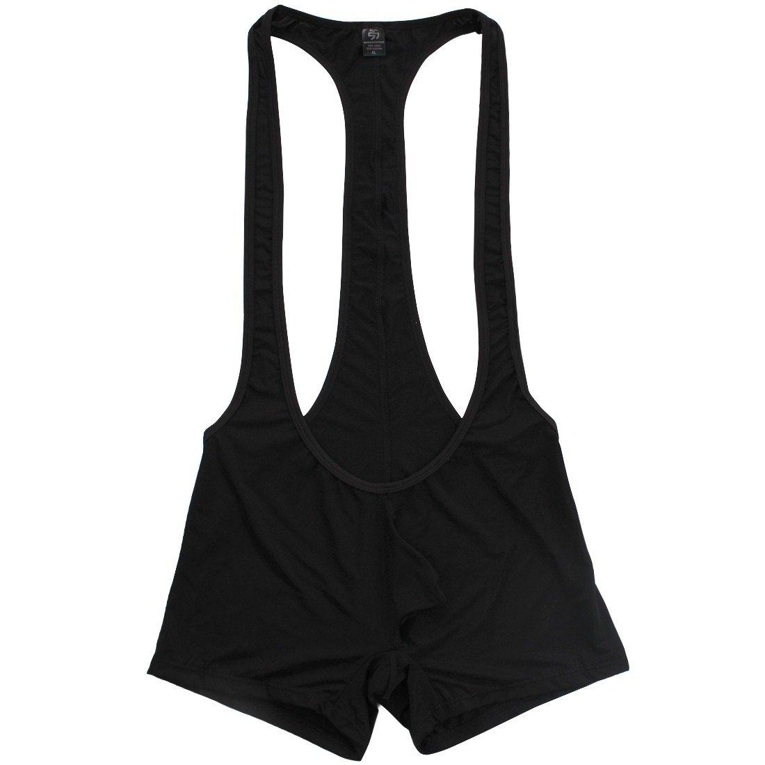 FEESHOW Men's Stretch Bodysuit Jockstrap Briefs Sports Underwear Wrestling Singlet