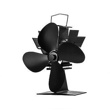 Fan de la estufa Ventilador de la estufa de calor para chimenea, estufa de leña, 4 Cuchillas, Negro: Amazon.es: Bricolaje y herramientas