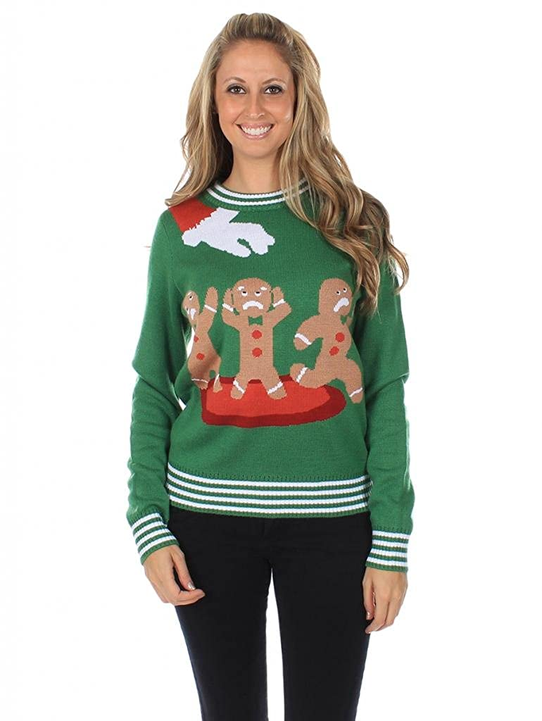 Women's Gingerbread Nightmare Green Ugly Christmas Sweater Tipsy Elves