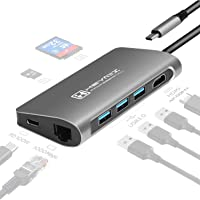 HEYMIX USB C Hub 8IN1 USB C Adapter 4K60Hz USB C to HDMI, 100W Power Charging, Gigabit Ethernet,3 USB 3.0, SD/TF Card…