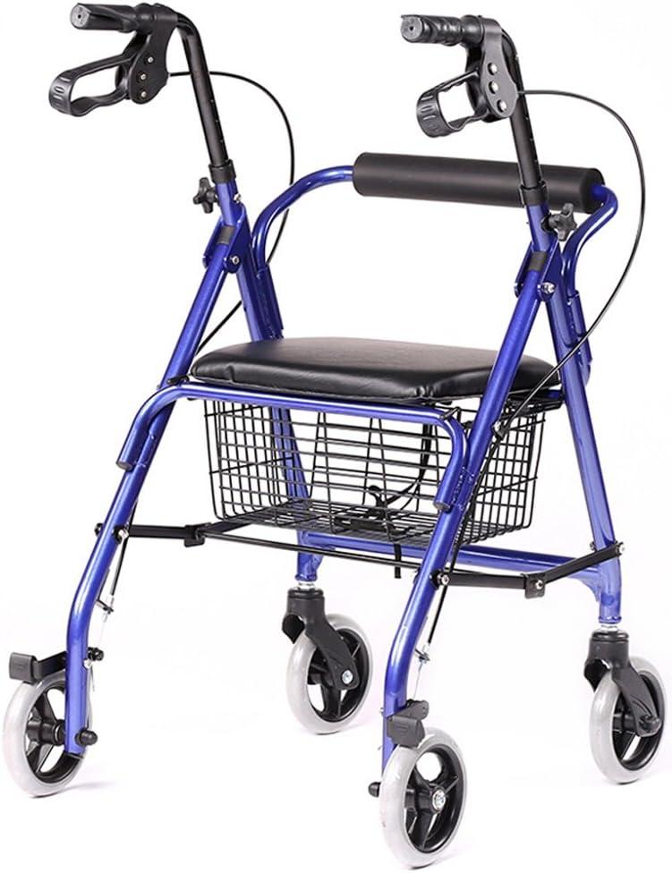 Rollator Walker plegable - 4 ruedas médico Rolling Walker con canasta de almacenamiento - Mobility Aid para adultos, personas mayores, ancianos y discapacitados - Silla de transporte de aluminio (azul