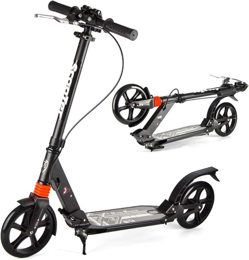 キックボード 大人のティーンのための折る蹴りのスクーター、二重懸濁液が付いているデラックスなアルミニウム2つの大きい車輪のグライダー調節可能な高さ、容量330ポンド (Color : 黒) 黒