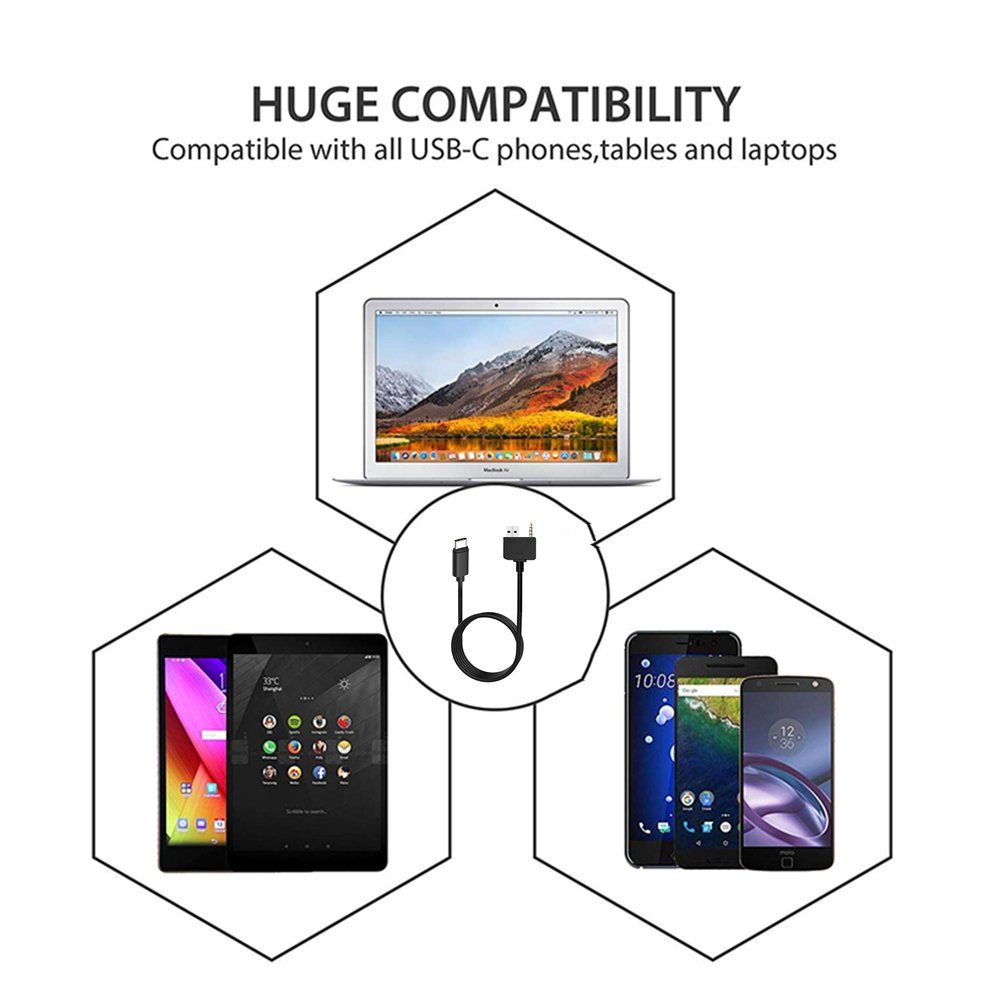 Motorola Moto Z2 Samsung S9//S8//N8 LG V30 OnePlus 5 for Select KIA Hyundai Models Type C Car Audio Adapter KIA Hyundai USB C Aux Cable Compatible with Pixel 2 XL HTC U11//U12