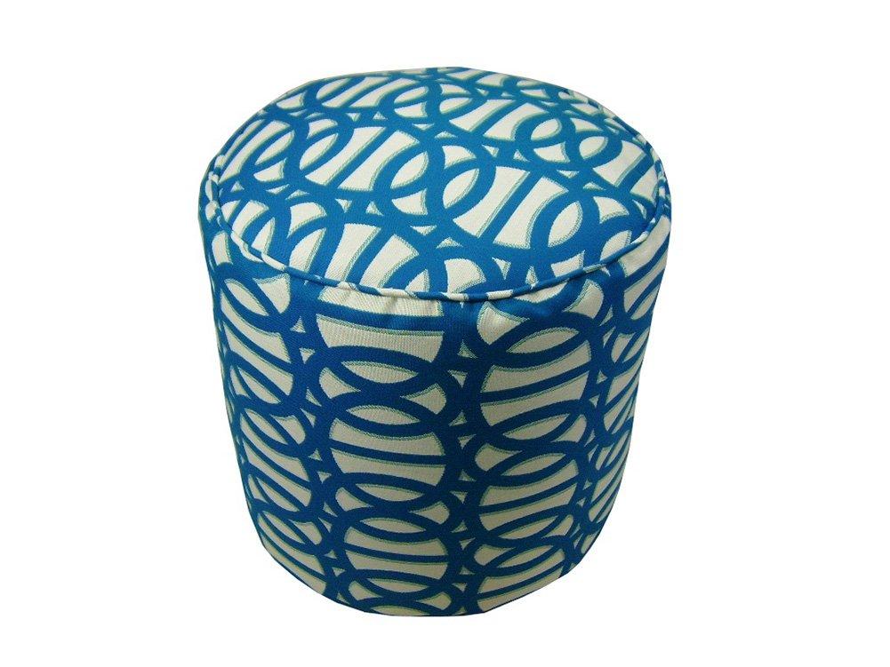 Lava Polyester Ottomans Lava Pillows Sunbrella Refle X Regatta 17 Tall X 17 Round Indoor/Outdoor Pouf 17 X 17 X 17 Inches Blue Model # 56612.423