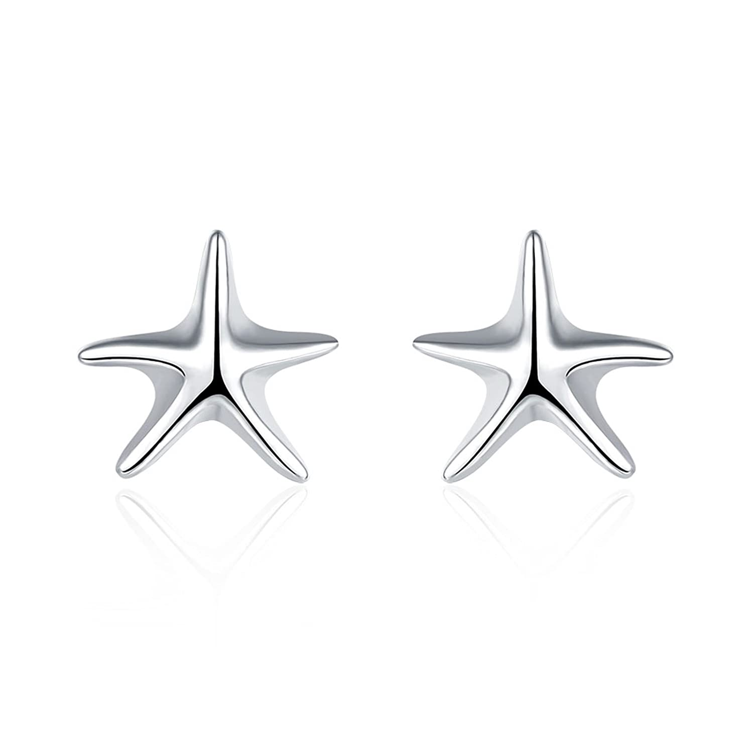 Silver Plated Simple Design Starfish Women Girls Stud Earring Birthday Gifts