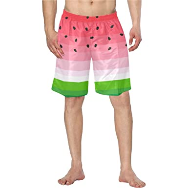 6658b3b6b2 Men Swim Trunks Quick Dry Watermelon with Black Seeds Pockets Beach Board  Shorts | Amazon.com