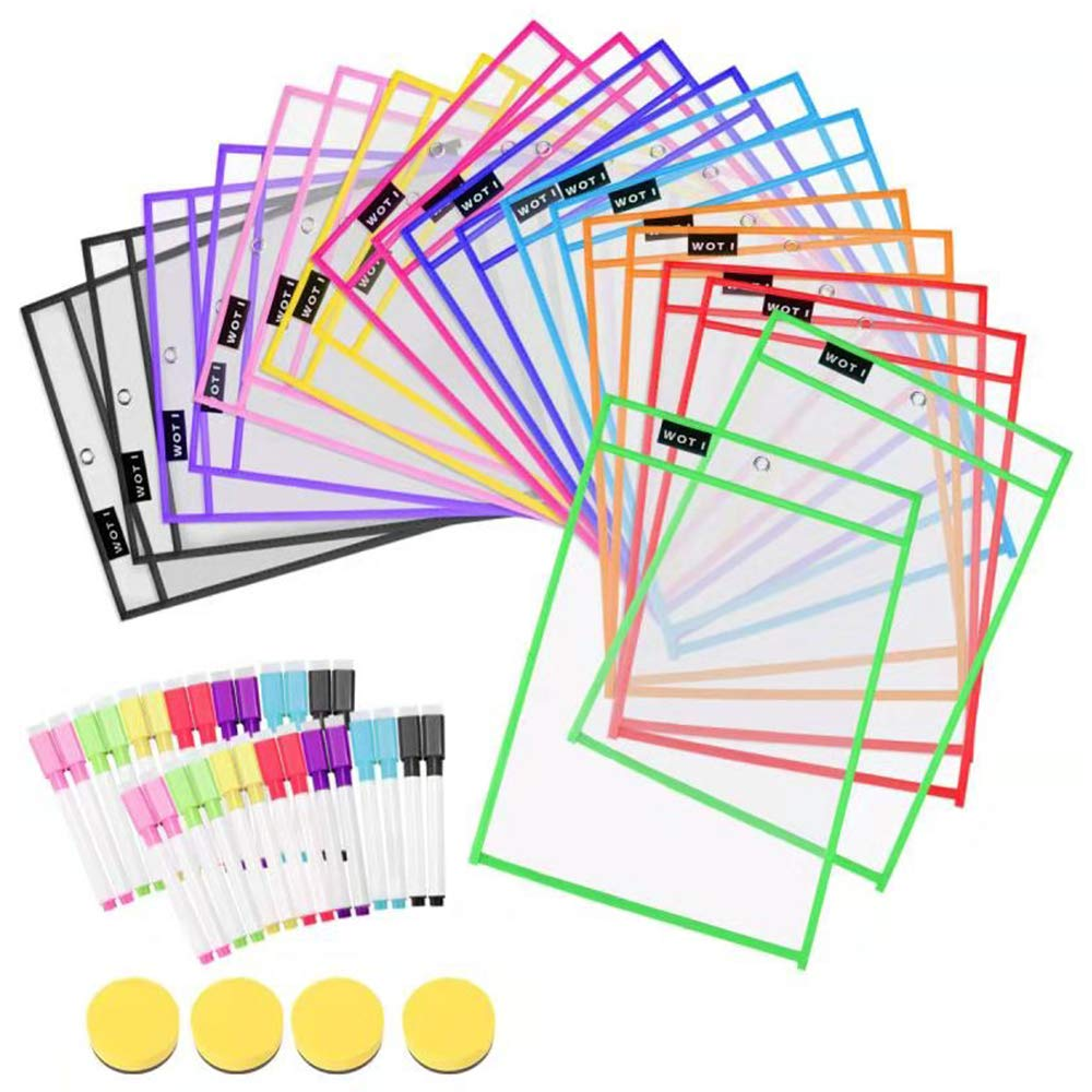 Dry Erase Pockets 20 Set Dry Erase Sleeves Oversized 10 x 14 Inches Teacher-Supplies- for-Classroom-Reusable-Dry-Erase-Pockets-Sleeves Assorted Colors WOT I by WOT I