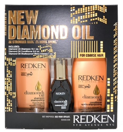 Price comparison product image Redken Diamond Oil Set for Coarse Hair : Includes: 1diamond Oil Shampoo 10.1 Oz, 1 Diamond Oil Conditioner 8.5 Oz, 1 Diamond Oil Shatterproof Shine Intense 1 Oz.