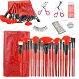 Makeup Brush Set Professional 24 Pieces Makeup Brushes Cosmetic Makeup Tool Set with 10 Pairs of False Eyelashes and A Pink Eyelash Curler - All-in-one Make Up Tools (Red) (Red)