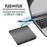 USB 3.0 & USB-C External CD DVD Drive, ROOFULL