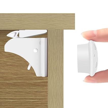 Haofy Cerraduras de Seguridad para Bebés Bloqueo de Seguridad Magnetica Cierres de Seguridad Invisible para Armarios