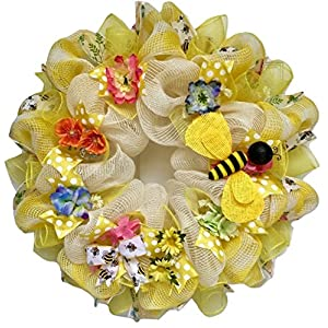 Bumble Bee Floral Spring Summer Deco Mesh Wreath 1