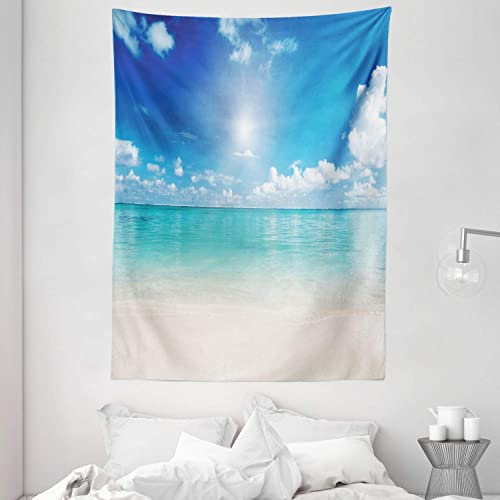 Ambesonne Ocean Tapestry, Sky and Sea Landscape Sand Tropical Beach Clouds Sun Hot Heaven Summer, Wall Hanging for Bedroom Living Room Dorm, 60 X 80 , Turquoise White