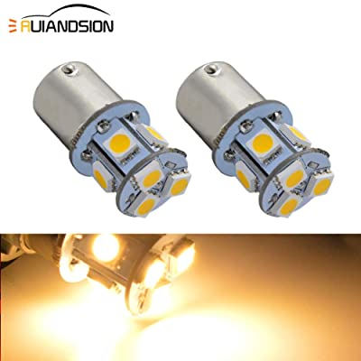 Ruiandsion 2pcs 1156 7506 BA15S 12V Super Bright 5050 8SMD Chipset LED Replacement Bulb for Reverse Light Turn Signal Light Tail Light,Non-polarity (Warm White): Automotive