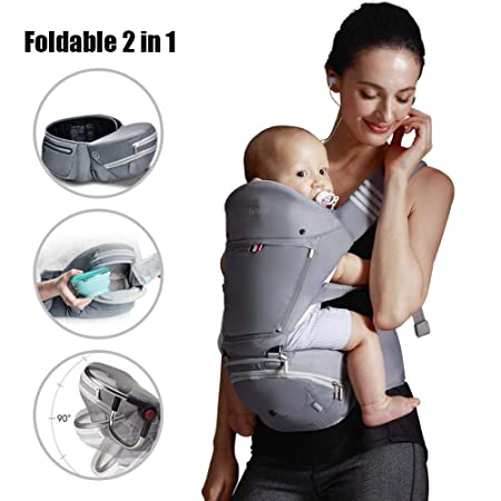 Bebamour Baby Carrier with Hip Seat 6 in 1 Ergonomic Baby Carrier Backpack 0-36 Months Grey