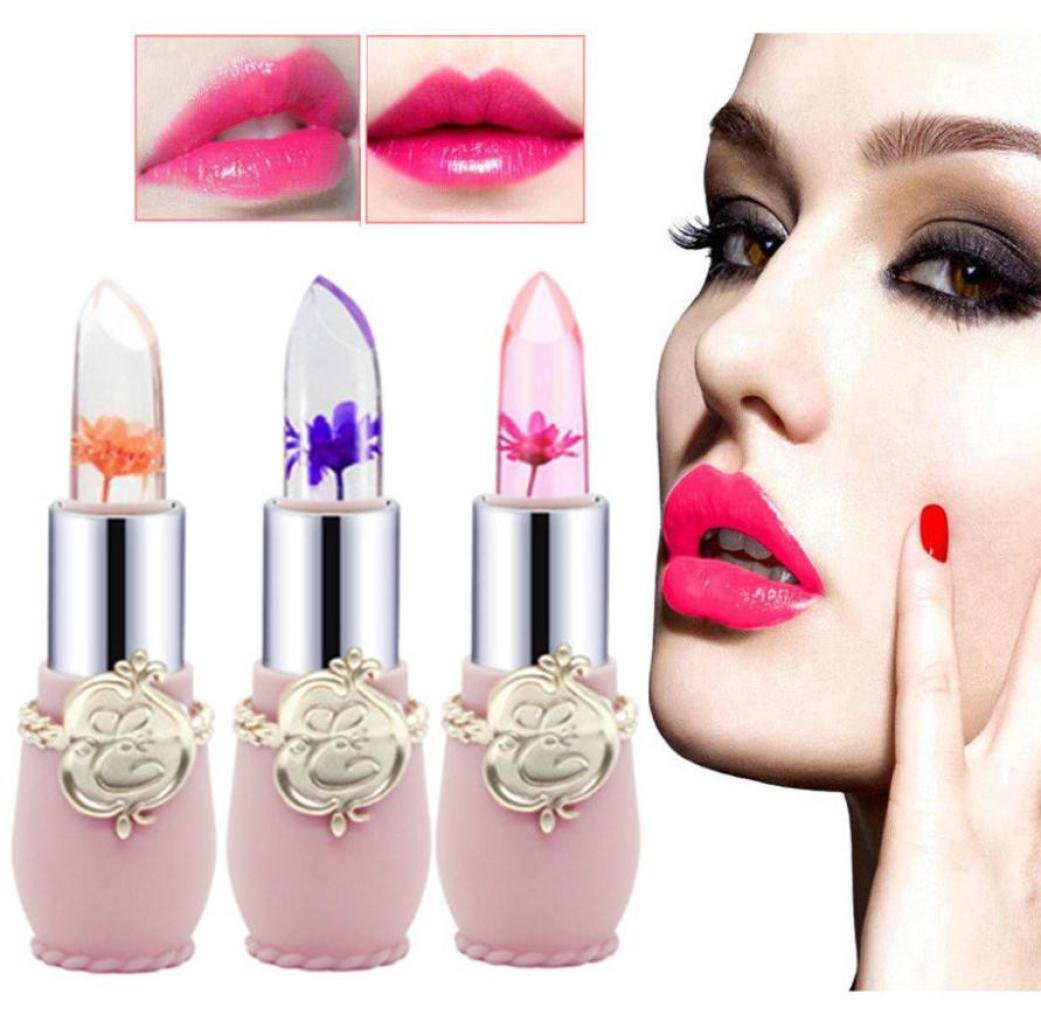 KingWo Jelly Flower Lipstick- Lip Care Temperature Change Moisturizer Lip Balm Lip Scrubs Moisturizer Lip 6pcs/Set
