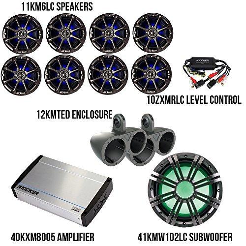 Kicker Marine Bundle with 40KXM8005 Amplifier + 11KM6LC LED Speakers + 41KMW102LC Subwoofer + 10ZXMRLC Level Control