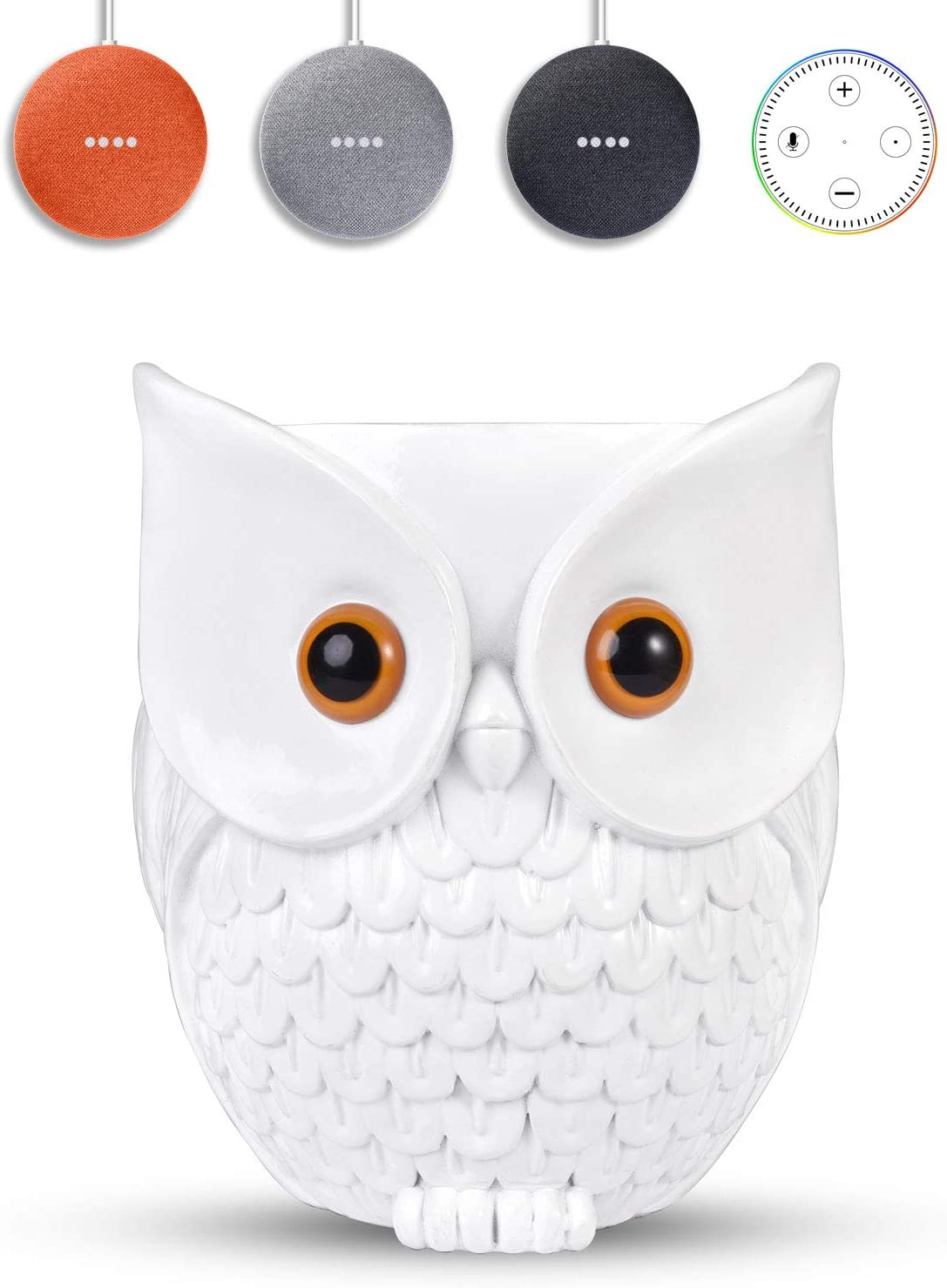 KeyEntre Owl Shape Smart Home Guard Owl Statue Crafted Guard Station for Google Home Mini Google Nest Mini (2nd Gen), Clean, Space Saving, Guard Holder Guard Station