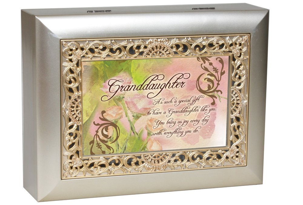 Cottage Garden Granddaughter Such a Gift Silvertone Gold Inlay Jewelry Music Box Plays You Light Up My Life