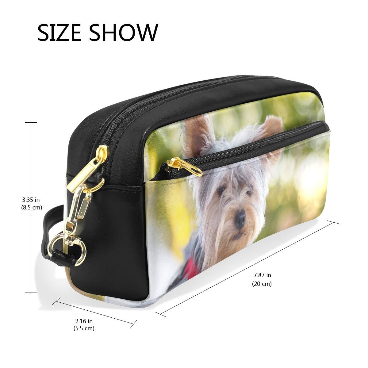 Eslifey Trousse de maquillage en cuir PU pour femme Motif Yorkshire Terrier
