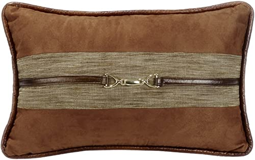 HiEnd Accents Highland Lodge Suede Buckle Pillow, 12×19, 12 x 19 , Brown