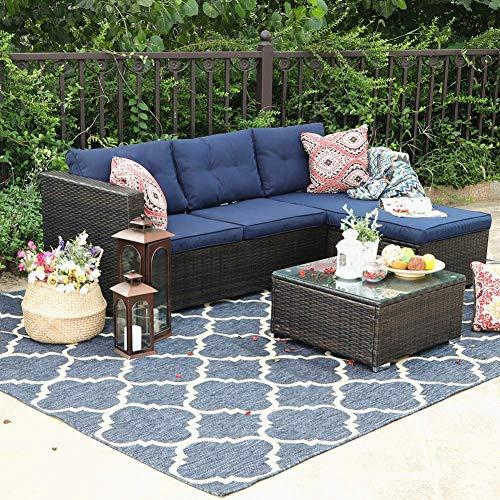 PHI VILLA Outdoor Sectional Rattan Sofa – Wicker Patio Furniture Set (Blue)