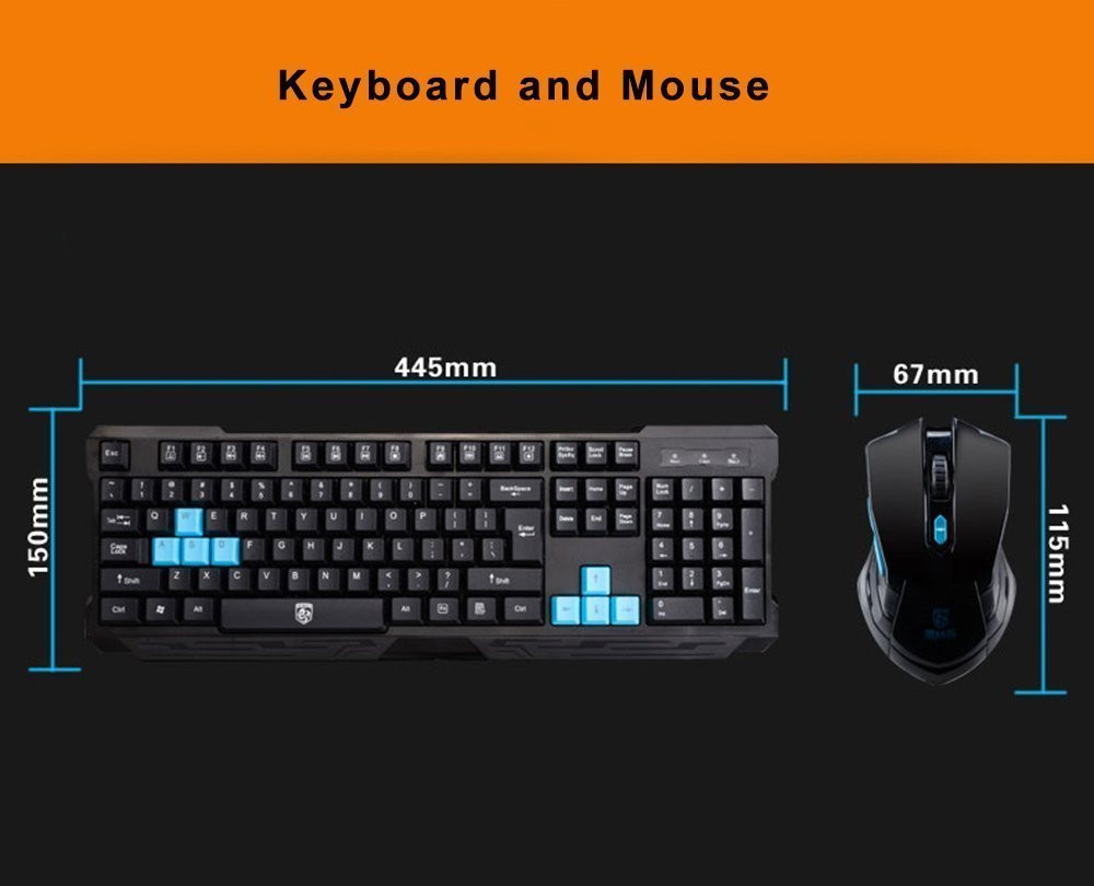 Keyboard Mouse Combos,Soke-Six Waterproof Multimedia 2.4GHz Wireless Gaming Keyboard with USB Cordless Ergonomic Mouse DPI Control For Desktop PC Laptop(Black) by Soke-Six (Image #7)